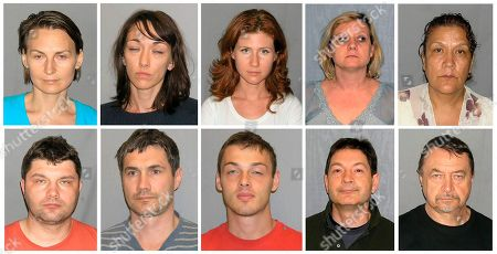 This combo of ten undated booking photos provided by U.S. Marshals on shows from top left, Cynthia Murphy, whose real name is Lydia Guryev, Patricia Mills whose real name is Natalia Pereverzeva, Anna Chapman, Tracey Lee Ann Foley whose real name is Elena Vavilova, Vicky Pelaez, and bottom, from left, Richard Murphy, born Vladimir Guryev, Michael Zottoli whose real name is Mikhail Kutsik, Mikhail Semenko, Donald Howard Heathfield whose real name is Andrey Bezrukov and Juan Lazaro whose real name is Mikhail Vasenkov. The FBI arrested the ten on June 27 charging them with acting as unregistered foreign agents for Russia. All pleaded guilty to conspiring to act as an unregistered agent of a foreign country