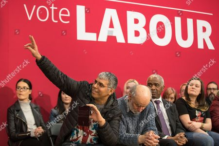 Members of the audience ask questions as Jeremy Corbyn and Andrew Gwynne host a Q&A as Jeremy Corbyn and Shadow Cabinet members launch the Labour Party's local election campaign at Stretford Sports Village in Trafford.