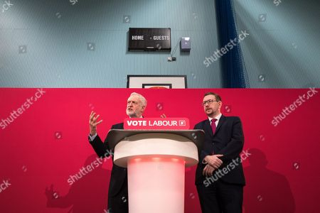Jeremy Corbyn and Andrew Gwynne host a Q&A as Jeremy Corbyn and Shadow Cabinet members launch the Labour Party's local election campaign at Stretford Sports Village in Trafford.