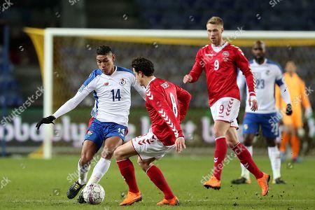 Valentin Pimentel of Panama competes with Thomas Delaney of Denmark