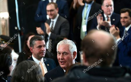 Outgoing Secretary of State Rex Tillerson says goodbye as he prepares to leave the State Department in Washington, after speaking to employees upon his departure