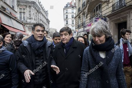 General secretary of the socialist party Olivier Faure and former minister Patrick Kanner are leaving the demonstration after being insulted by the union trade demonstrators