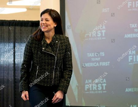 """Former New Hampshire Sen. Kelly Ayotte takes the stage to participate in a panel discussion at the America First Policies, """"Tax Cuts to Put America First"""" event, in Manchester, N.H"""