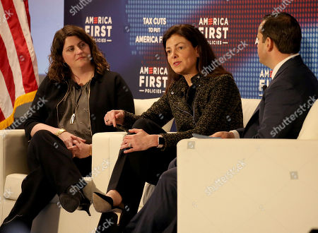 """Kelly Ayotte, Candice Benson, Ian Boccaccio. Former New Hampshire Sen. Kelly Ayotte, center, joins Candice Benson, CEO of Benson Consulting, left, and moderator Ian Boccaccio during a panel discussion at the America First Policies, """"Tax Cuts to Put America First"""" event, in Manchester, N.H"""