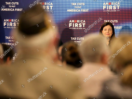 """Stock Photo of Former New Hampshire Sen. Kelly Ayotte speaks during a panel discussion at the America First Policies, """"Tax Cuts to Put America First"""" event, in Manchester, N.H"""