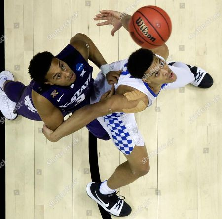 Kansas State guard Kamau Stokes (3) and Kentucky forward Kevin Knox (5) wait for a ball during the second half of a regional semifinal NCAA college basketball tournament game, in Atlanta. Kansas State won 61-58