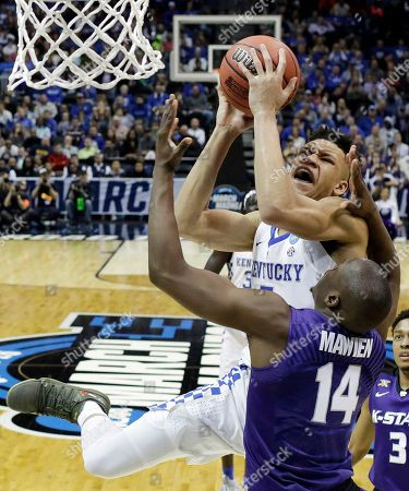 Kentucky forward Kevin Knox (5) shoots against Kansas State forward Makol Mawien (14) during the second half of a regional semifinal NCAA college basketball tournament game, in Atlanta. Kansas State won 61-58