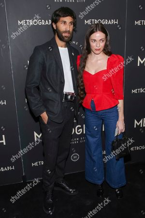Stock Image of Rel Schulman, Hailey Gates. Rel Schulman, left, and Hailey Gates attend the second year anniversary of Metrograph, in New York