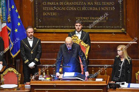 Former Italian President Giorgio Napolitano speaks to the senators of the XVIII legislature in Rome, Italy, 23 March 2018. Napolitano opened the XIII Legislature following the Italian general election from 04 March 2018.