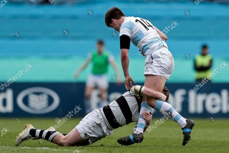 Belvedere College vs Blackrock College. Blackrock's Liam McMahon tackled by David Hawkshaw of Belvedere