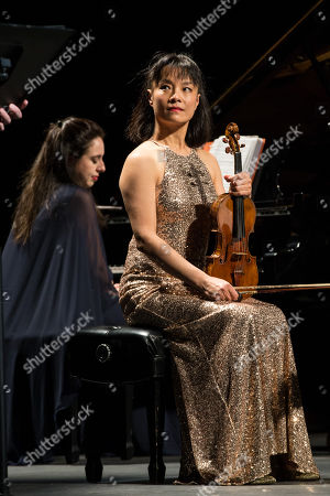Pianist Vanessa Perez, and violinist Mira Wang perform onstage
