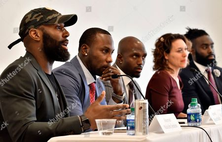 Malcolm Jenkins Anquan Boldin Devin McCourty Demario Davis, Emily Bazelon. Philadelphia Eagles' Malcolm Jenkins, left, speaks, as former NFL player Anquan Boldin, New England Patriots' Devin McCourty, moderator New York Times Magazine's Emily Bazelon, and New Orleans Saints' Demario Davis listen during a session to discuss criminal justice issues with other current and former NFL football players at Harvard Law School, in Cambridge, Mass