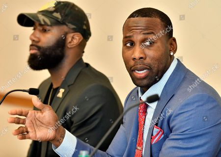 Malcolm Jenkins Anquan Boldin. Former NFL player Anquan Boldin, right, speaks about the death of his cousin, as Philadelphia Eagles' Malcolm Jenkins, left, listens during a session to discuss criminal justice issues with other current and former NFL football players at Harvard Law School, in Cambridge, Mass. Boldin's cousin, Corey Jones, died after being shot by police in 2015 while sitting in a disabled car