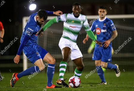 Waterford vs Shamrock Rovers. Waterford's David Webster with Daniel Carr of Shamrock Rovers