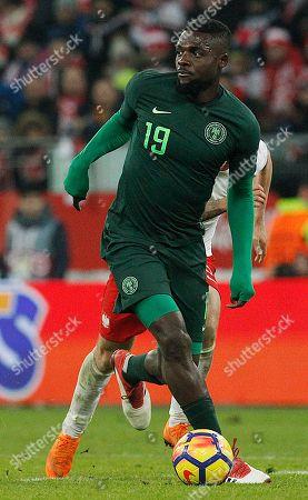 Nigeria's John Ogu during an international friendly soccer match between Poland and Nigeria in Wroclaw, Poland