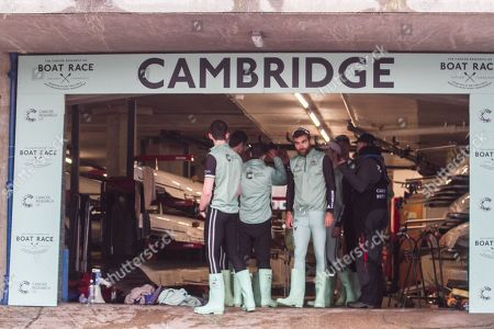 Stock Picture of Members of Cambridge  University boat club Bow: Charles Fisher, Patrick Elwood, James Letten,  Dara Alizadeh,Spencer Furey, Finn Meeks , Rob Hurn, Freddie Davidson ,Hugo Ramambason practice on the River Thames before the race against Oxford university