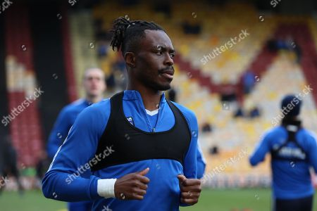Gillingham defender Gabriel Zakuani (6) warms up for the EFL Sky Bet League 1 match between Bradford City and Gillingham at the Northern Commercials Stadium, Bradford. Picture by Mick Atkins