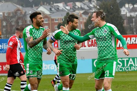 Goal - Kaiyne Woolery (22) of Swindon Town celebrates scoring a goal to give a 0-1 lead to the away team with Matthew Taylor (31) of Swindon Town  during the EFL Sky Bet League 2 match between Exeter City and Swindon Town at St James' Park, Exeter. Picture by Graham Hunt