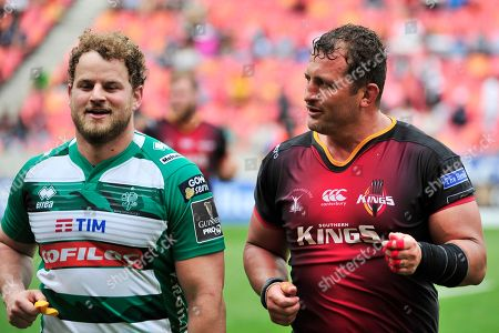Southern Kings vs Benetton Treviso . Treviso's Tomas Baravalle and Schalk Ferreira of the Southern Kings