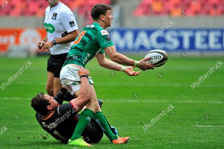 Southern Kings vs Benetton Treviso . Tommaso Iannone of Benetton passes during the tackle of Schalk Ferreira of the Southern Kings