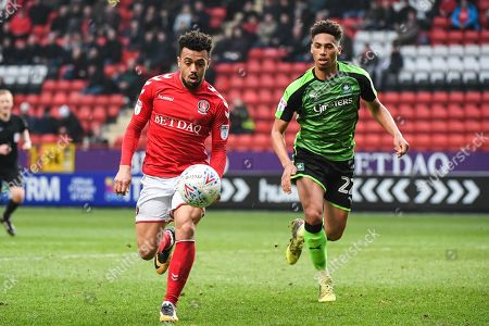 Charlton Athletic Forward Leon Best (8) and Plymouth Argyle Defender Zak Vyner (22) in action during the EFL Sky Bet League 1 match between Charlton Athletic and Plymouth Argyle at The Valley, London. Picture by Stephen Wright