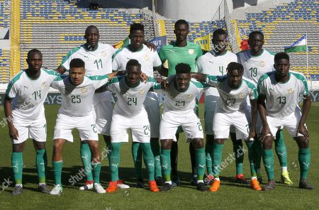 Senegal team player is pictured before a friendly soccer match between Senegal and Uzbekistan in Casablanca, Morocco, . First row, from the left: Moussa Konate, Santy Ngom, Assane Diousee, Lamine Gassama, Souaree Pape, Alfred Ndiaye Second row: Cheikh Ndoye, Papy Djilobodji, Pape Seydou Ndiaye, Fallou Diagne, Baye Omar Niasse