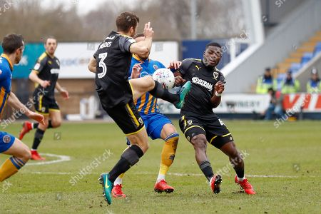 AFC Wimbledon defender Jonathan Meades (3) and AFC Wimbledon defender Adedeji Oshilaja (4) challenge for the ball during the EFL Sky Bet League 1 match between Shrewsbury Town and AFC Wimbledon at Greenhous Meadow, Shrewsbury. Picture by Simon Davies