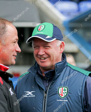 London Irish vs Gloucester . London Irish Coach Declan Kidney with Gloucester's Director of Rugby David Humphreys before the game