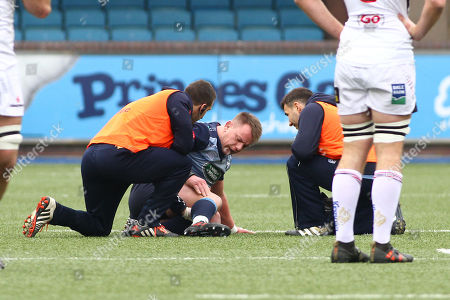 Stock Picture of Matthew Rees of Cardiff Blues receives treatment