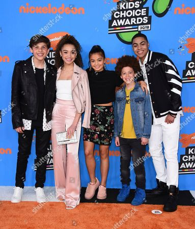 Stock Picture of Tomaso Sanelli, Kamaia Fairburn, Siena Agudong, Marcus Cornwall, Jadiel Dowlin. Tomaso Sanelli, from left, Kamaia Fairburn, Siena Agudong, Marcus Cornwall, and Jadiel Dowlin arrive at the Kids' Choice Awards at The Forum, in Inglewood, Calif