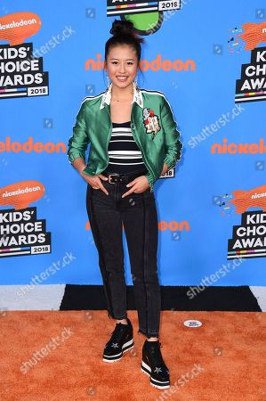 Haley Tju arrives at the Kids' Choice Awards at The Forum, in Inglewood, Calif