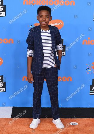 Seth Carr arrives at the Kids' Choice Awards at The Forum, in Inglewood, Calif