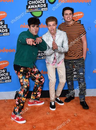 Emery Kelly, Ricky Garcia, Liam Attridge. Emery Kelly, from left, Ricky Garcia, and Liam Attridge of Forever in Your Mind arrive at the Kids' Choice Awards at The Forum, in Inglewood, Calif