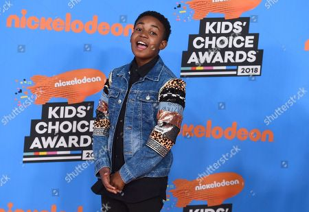 Issac Ryan Brown arrives at the Kids' Choice Awards at The Forum, in Inglewood, Calif
