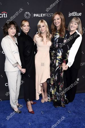 """Beth Hall, Jaime Pressly, Anna Faris, Allison Janney, Mimi Kennedy. Beth Hall, from left, Jaime Pressly, Anna Faris, Allison Janney and Mimi Kennedy attend the 35th Annual Paleyfest """"Mom"""" at the Dolby Theatre, in Los Angeles"""