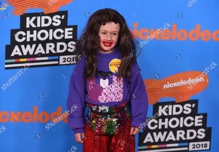 Parker Ballinger, dressed as Miranda Sings, arrives at the Kids' Choice Awards at The Forum, in Inglewood, Calif