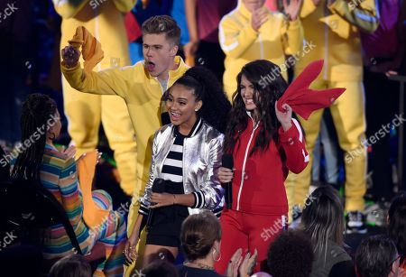 Daniella Perkins, Owen Joyner, Lilimar Hernandez. Owen Joyner, from left, Daniella Perkins, and Lilimar Hernandez present the award for favorite TV actor at the Kids' Choice Awards at The Forum, in Inglewood, Calif
