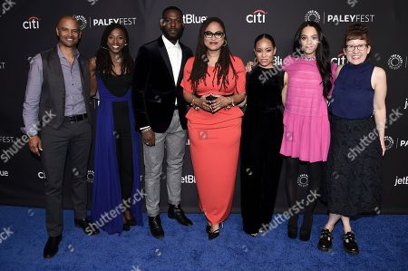 "Dondre Whitfield, Rutina Welsey, Kofi Siriboe, Ava DuVernay, Dawn-Lyen Gardner, Bianca Lawson, Kat Candler. Dondre Whitfield, from left, Rutina Welsey, Kofi Siriboe, Ava DuVernay, Dawn-Lyen Gardner, Bianca Lawson and Kat Candler attends the 35th Annual Paleyfest ""Queen Sugar"" at the Dolby Theatre, in Los Angeles"