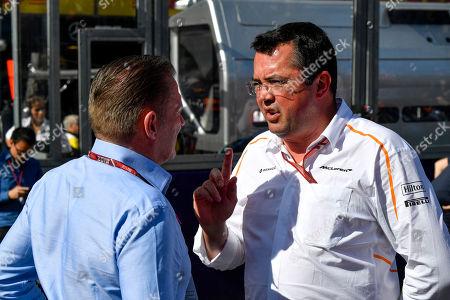 Stock Image of Motorsports: FIA Formula One World Championship 2018, Melbourne, Victoria : Motorsports: Formula 1 2018 Rolex  Australian Grand Prix,  Verstappen Eric Boullier