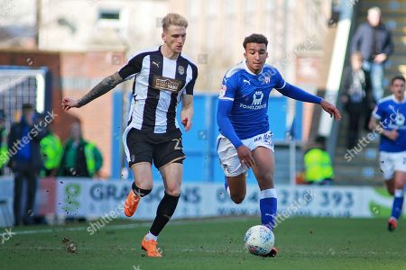 Chesterfield forward Jacob Brown (44) on the attack during the EFL Sky Bet League 2 match between Chesterfield and Notts County at the Proact stadium, Chesterfield. Picture by Nigel Cole