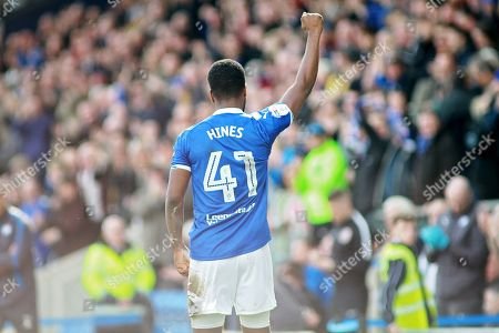 Chesterfield midfielder Zavon Hines (41) salutes the crowd after his goal during the EFL Sky Bet League 2 match between Chesterfield and Notts County at the Proact stadium, Chesterfield. Picture by Nigel Cole