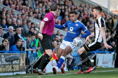 Chesterfield forward Jacob Brown (44) keeps this one in during the EFL Sky Bet League 2 match between Chesterfield and Notts County at the Proact stadium, Chesterfield. Picture by Nigel Cole