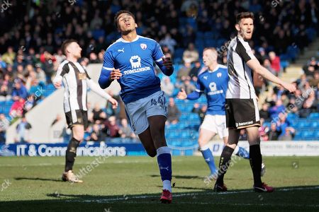 Chesterfield forward Jacob Brown (44) rues a missed chance during the EFL Sky Bet League 2 match between Chesterfield and Notts County at the Proact stadium, Chesterfield. Picture by Nigel Cole
