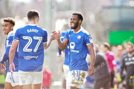 Chesterfield midfielder Zavon Hines (41) celebrates his goal  during the EFL Sky Bet League 2 match between Chesterfield and Notts County at the Proact stadium, Chesterfield. Picture by Nigel Cole