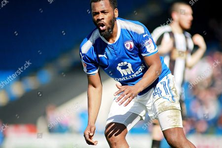 Chesterfield midfielder Zavon Hines (41) misses an early second half chance  during the EFL Sky Bet League 2 match between Chesterfield and Notts County at the Proact stadium, Chesterfield. Picture by Nigel Cole