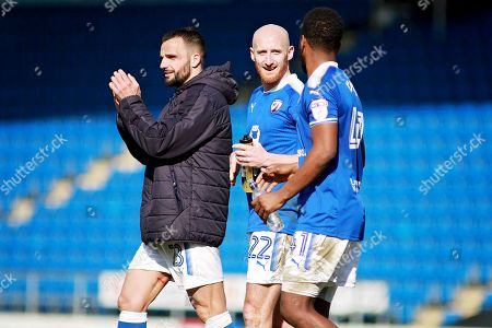 Chesterfield defender Drew Talbot (22)  and Chesterfield midfielder Zavon Hines (41)  after the EFL Sky Bet League 2 match between Chesterfield and Notts County at the Proact stadium, Chesterfield. Picture by Nigel Cole