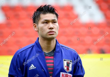 Japan's goalkeeper Kosuke Nakamura during a friendly soccer match between Japan and Mali at Maurice Dufrasne Stadium in Liege, Belgium on