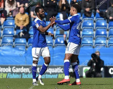 Zavon Hines of Chesterfield celebrates scoring the second goal 2-0