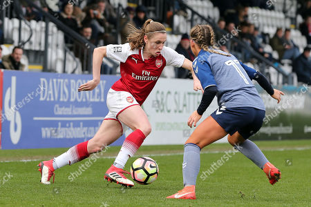 Heather O'Reilly of Arsenal Women and Hannah Churchill of Charlton Women during Arsenal Women vs Charlton Athletic Women, SSE Women's FA Cup Football at Meadow Park on 25th March 2018
