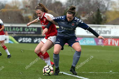 Nicole Pepper of Charlton Women and Heather O'Reilly of Arsenal Women during Arsenal Women vs Charlton Athletic Women, SSE Women's FA Cup Football at Meadow Park on 25th March 2018